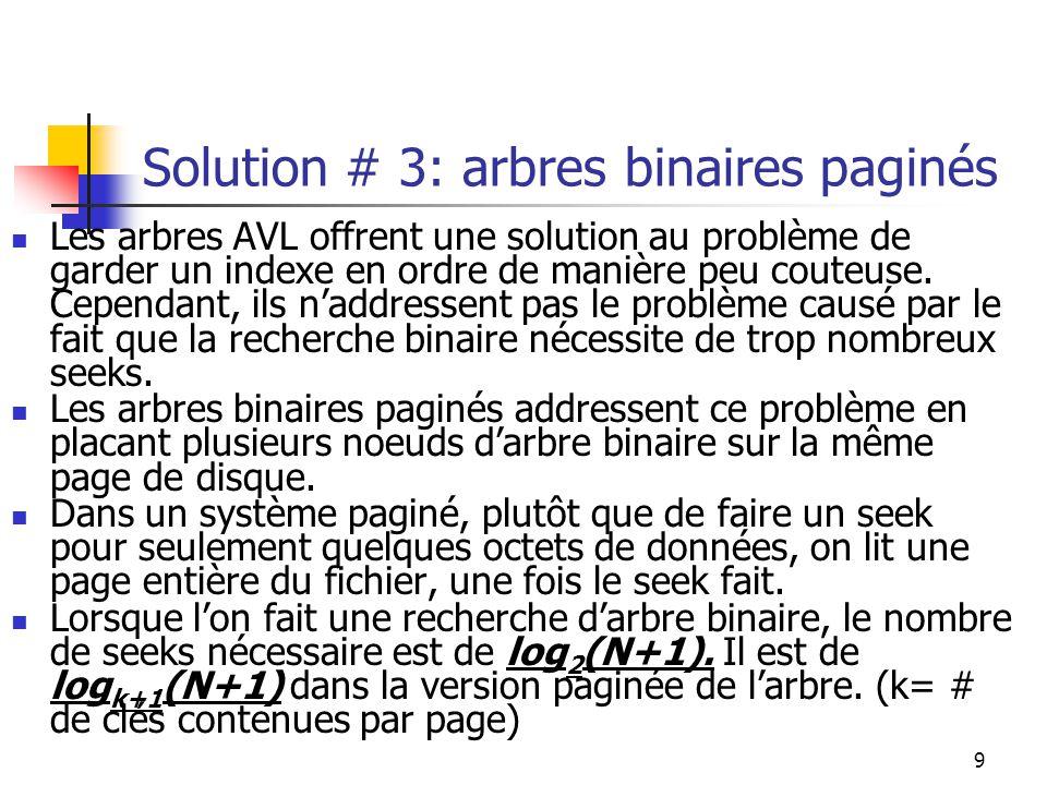 Solution # 3: arbres binaires paginés