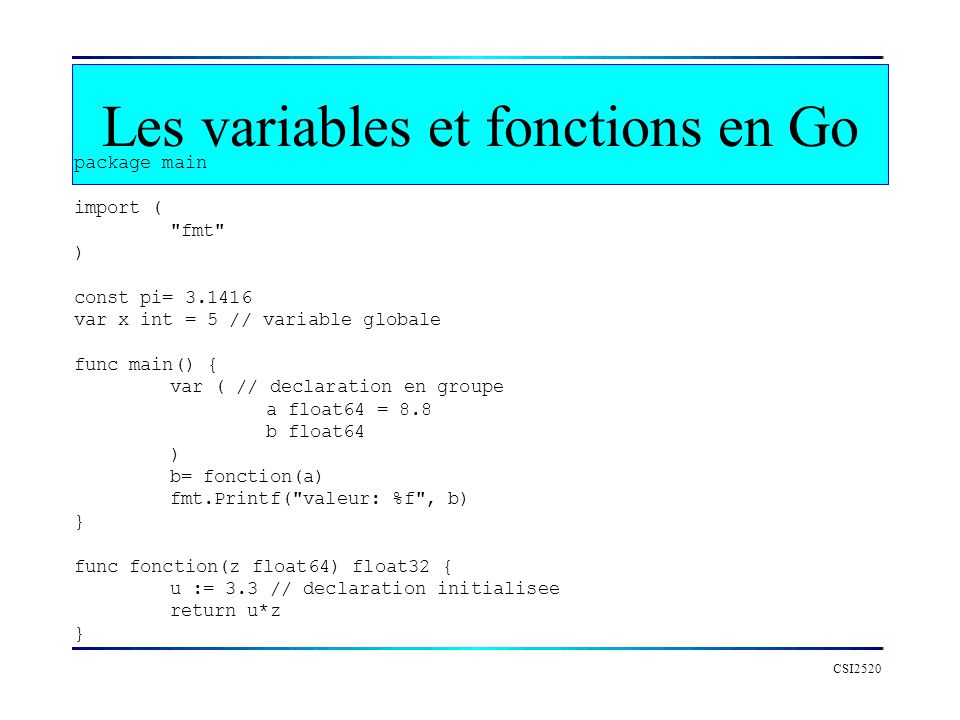 Les variables et fonctions en Go