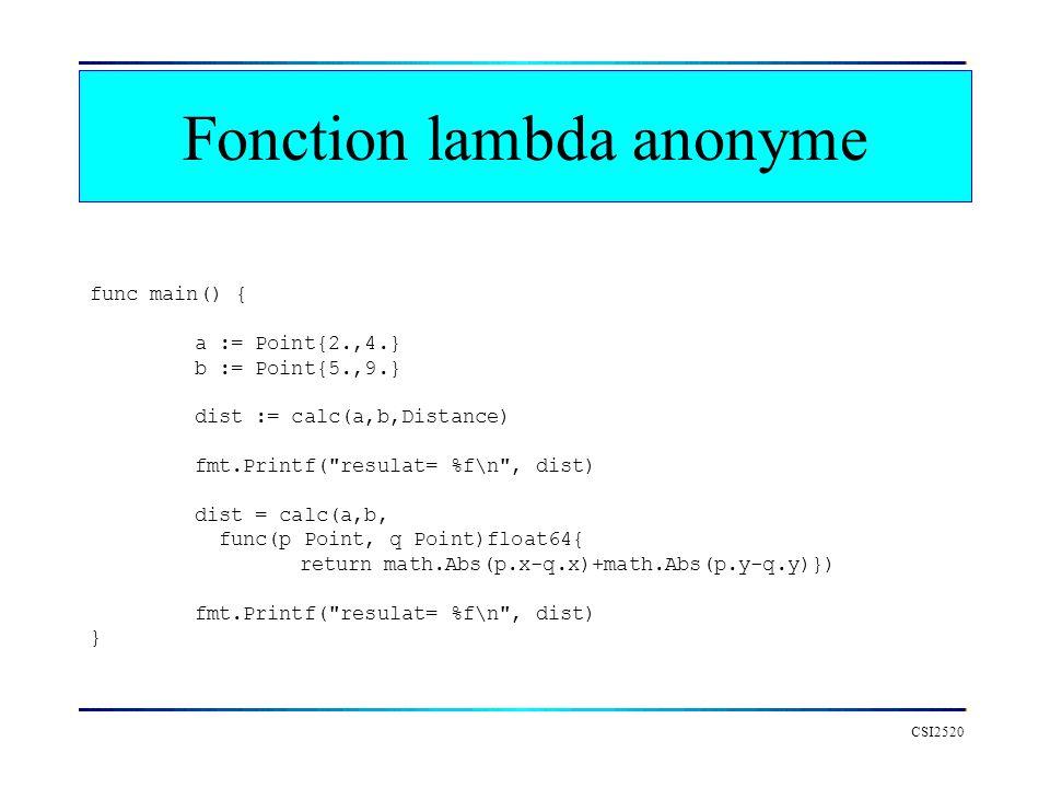 Fonction lambda anonyme