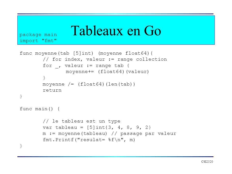 Tableaux en Go package main import fmt