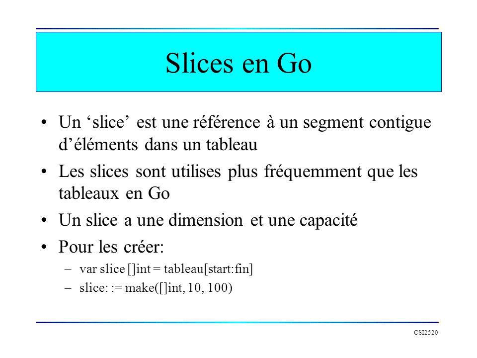 Slices en Go Un 'slice' est une référence à un segment contigue d'éléments dans un tableau.
