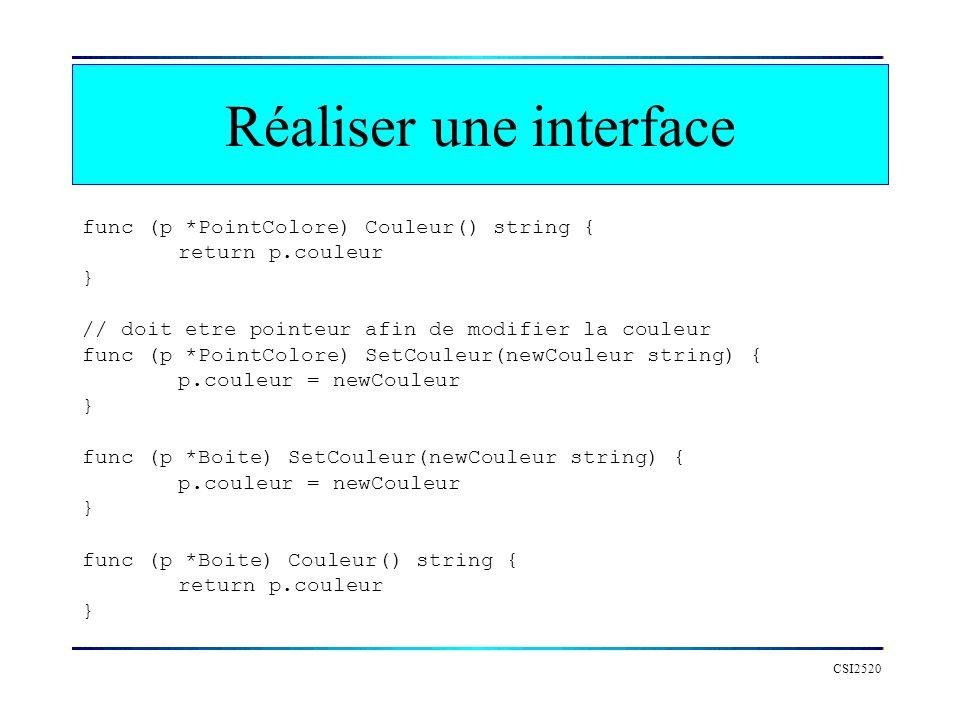 Réaliser une interface