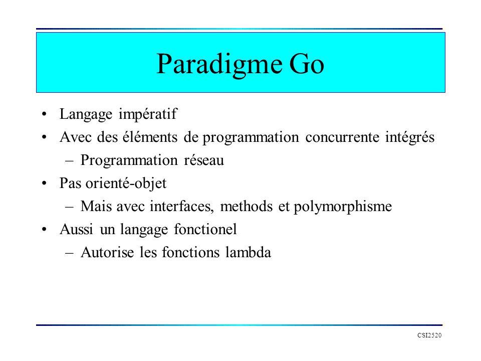 Paradigme Go Langage impératif