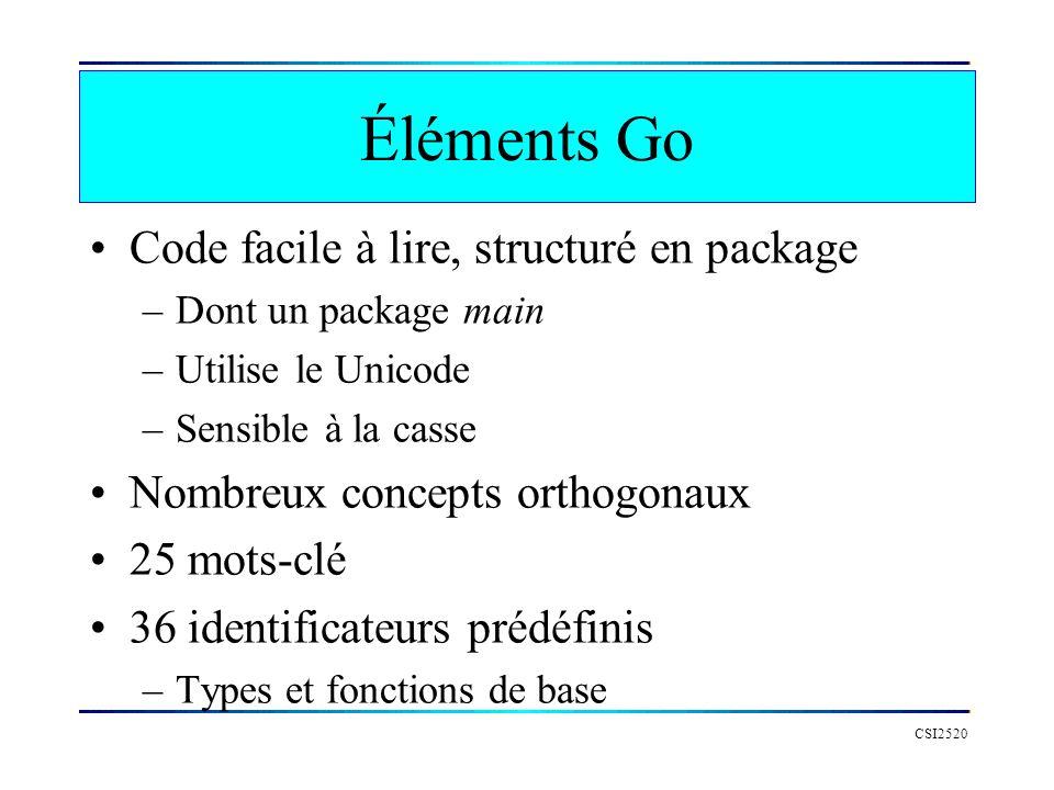 Éléments Go Code facile à lire, structuré en package