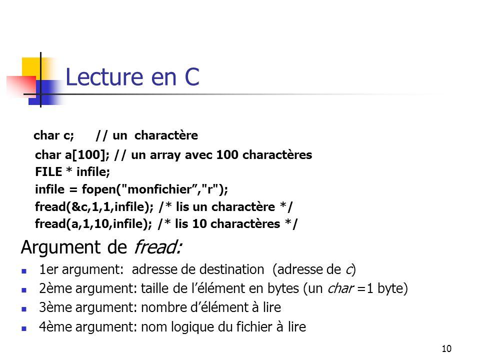 Lecture en C char c; // un charactère Argument de fread: