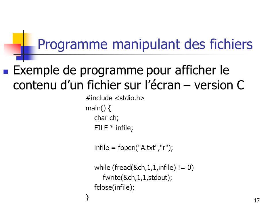 Programme manipulant des fichiers