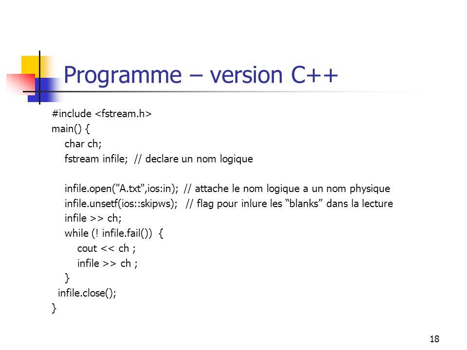 Programme – version C++
