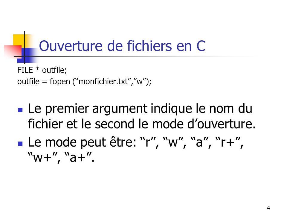 Ouverture de fichiers en C