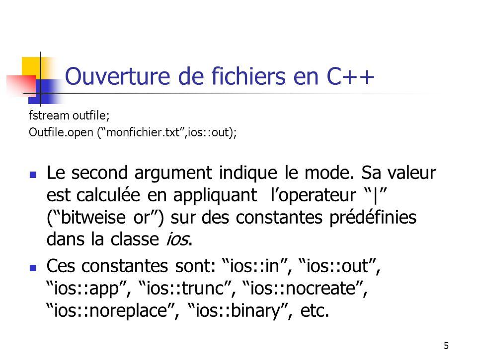 Ouverture de fichiers en C++