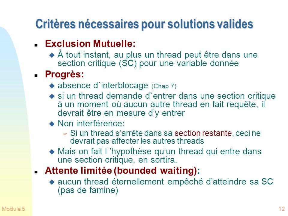 Critères nécessaires pour solutions valides