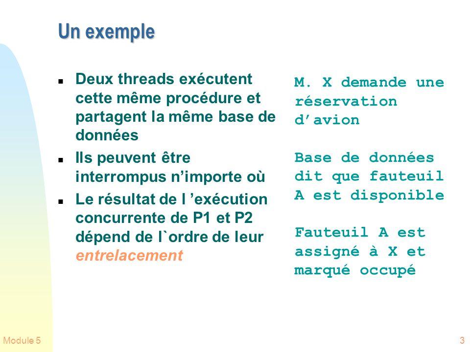 Un exemple Deux threads exécutent cette même procédure et partagent la même base de données. Ils peuvent être interrompus n'importe où.