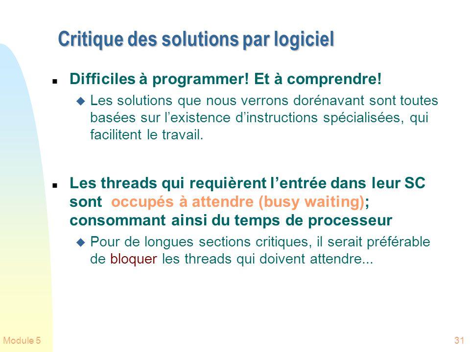 Critique des solutions par logiciel