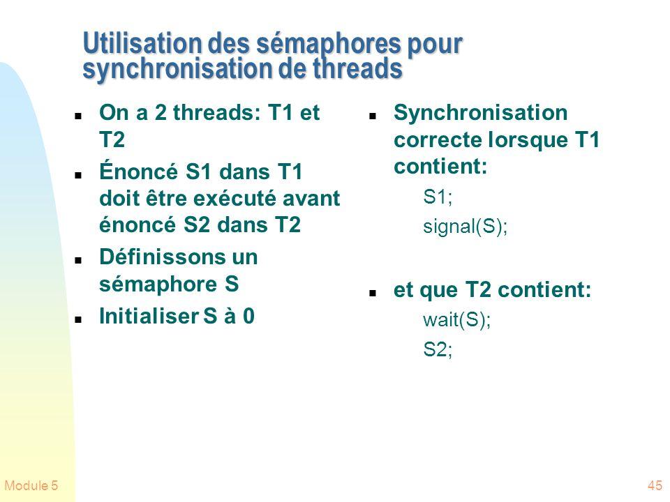 Utilisation des sémaphores pour synchronisation de threads