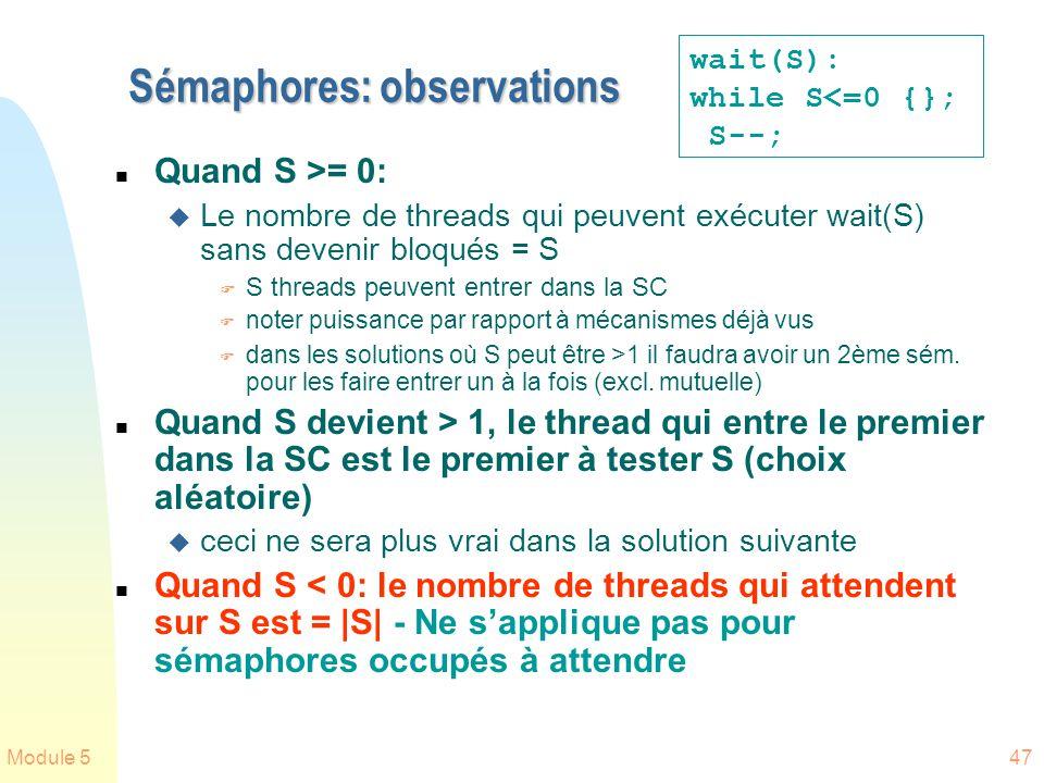 Sémaphores: observations
