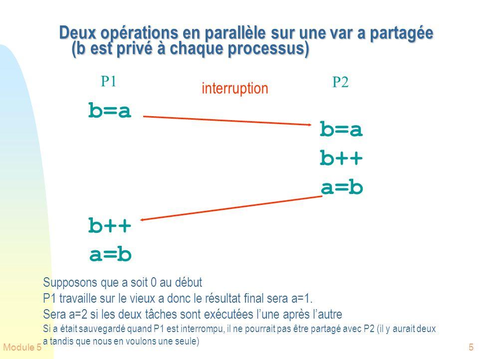 Deux opérations en parallèle sur une var a partagée (b est privé à chaque processus)