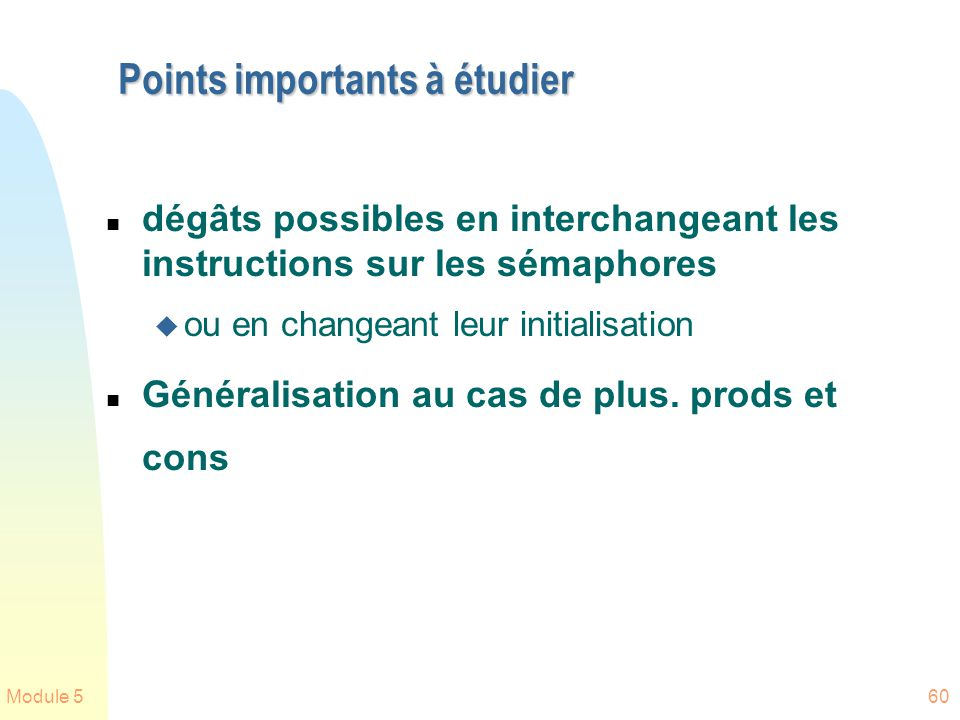 Points importants à étudier