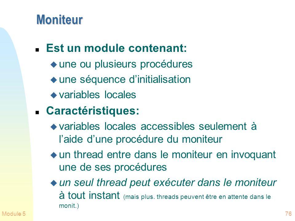 Moniteur Est un module contenant: Caractéristiques: