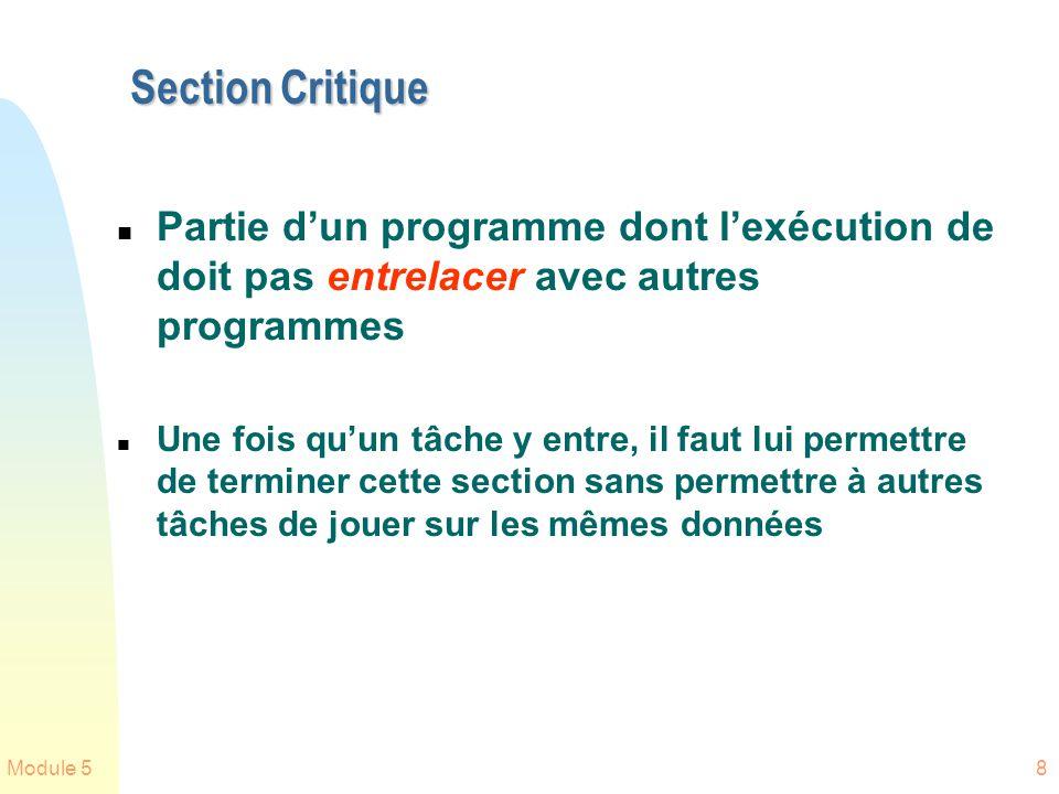 Section Critique Partie d'un programme dont l'exécution de doit pas entrelacer avec autres programmes.