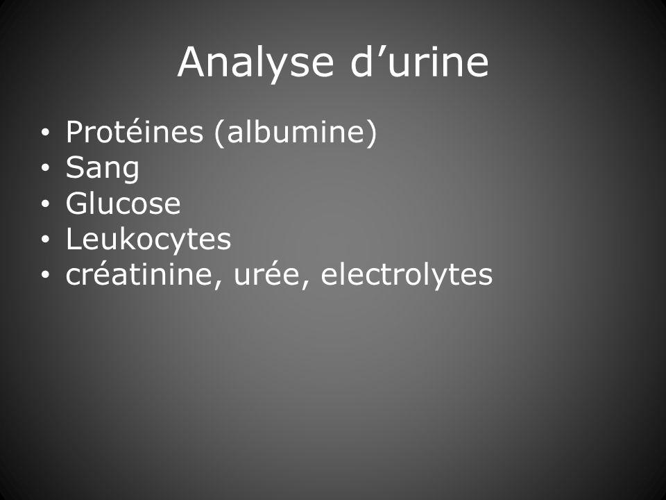 Analyse d'urine Protéines (albumine) Sang Glucose Leukocytes