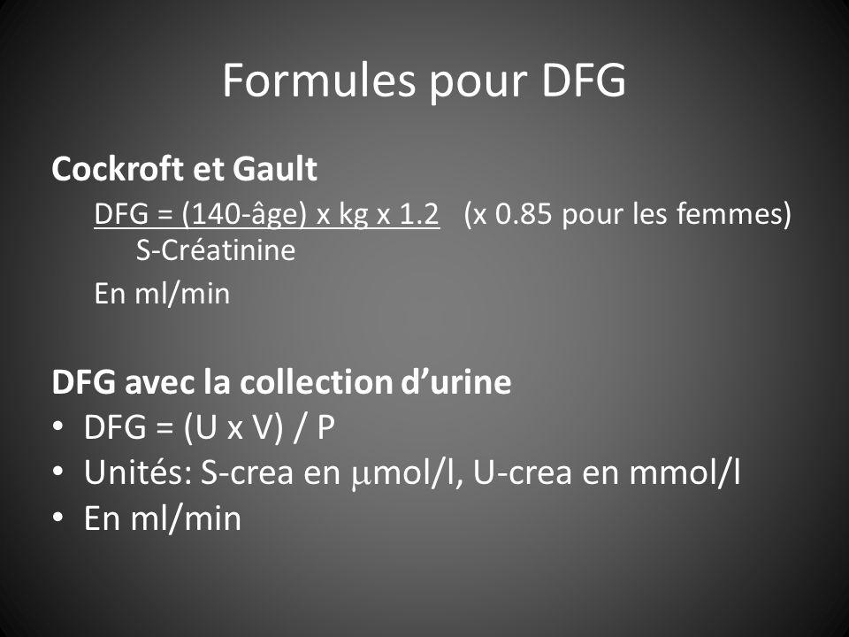 Formules pour DFG Cockroft et Gault DFG avec la collection d'urine