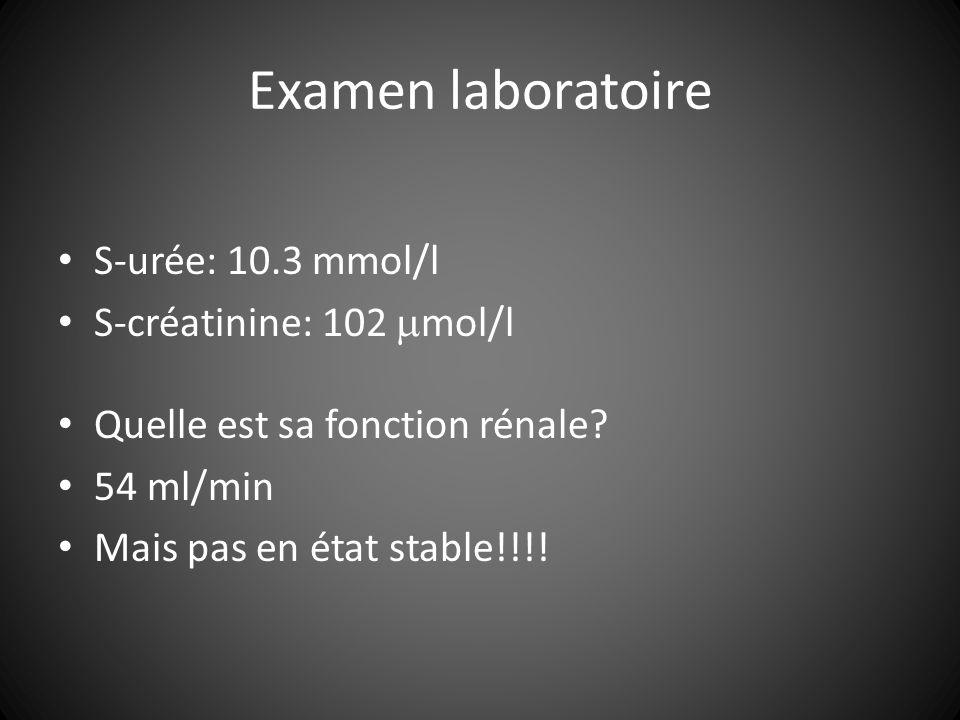 Examen laboratoire S-urée: 10.3 mmol/l S-créatinine: 102 mol/l