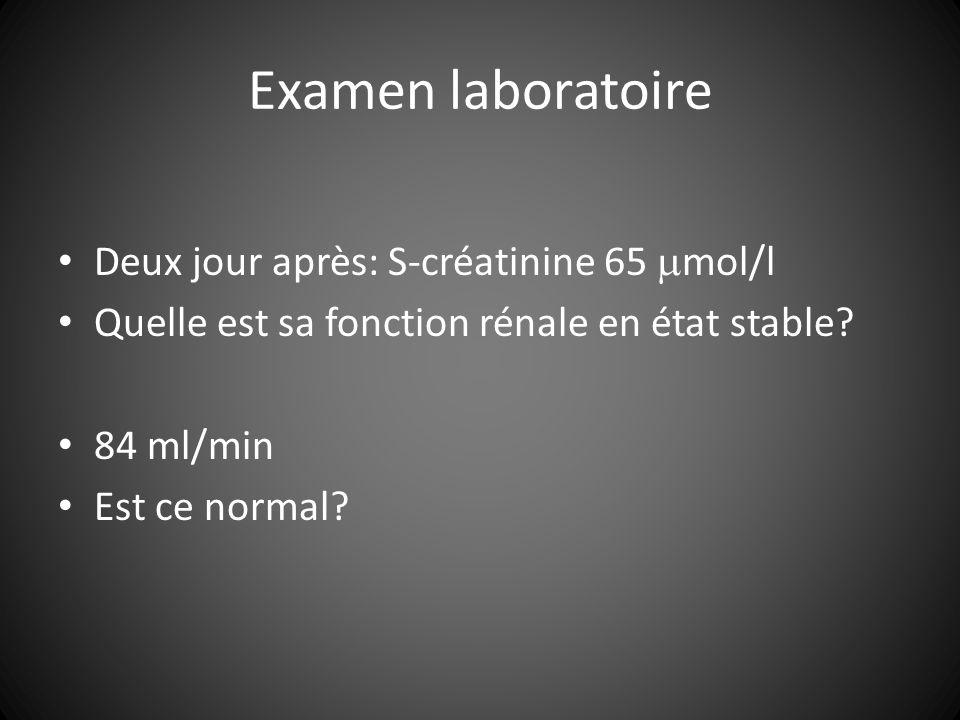 Examen laboratoire Deux jour après: S-créatinine 65 mol/l