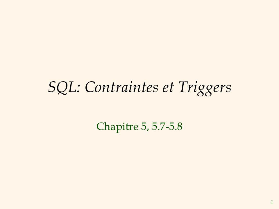SQL: Contraintes et Triggers
