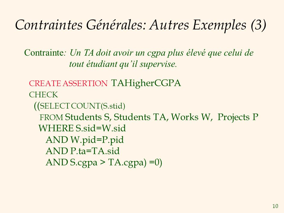 Contraintes Générales: Autres Exemples (3)