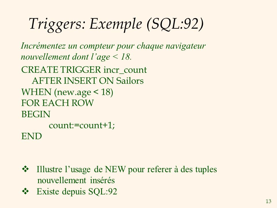 Triggers: Exemple (SQL:92)