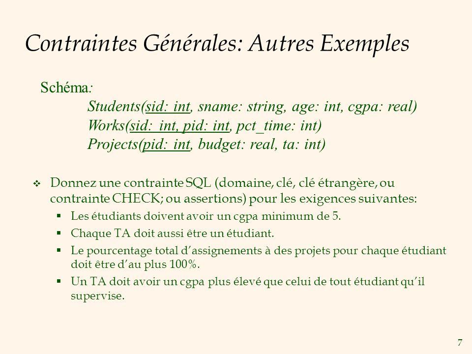 Contraintes Générales: Autres Exemples