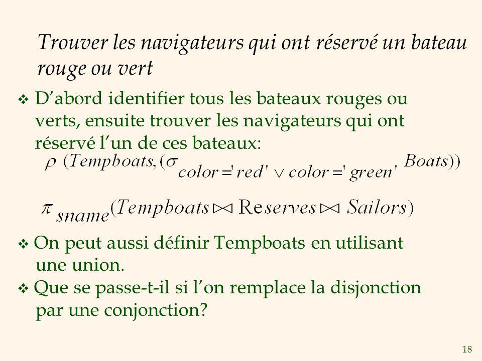 Trouver les navigateurs qui ont réservé un bateau rouge ou vert
