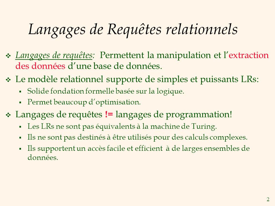 Langages de Requêtes relationnels