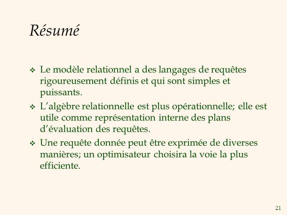 Résumé Le modèle relationnel a des langages de requêtes rigoureusement définis et qui sont simples et puissants.