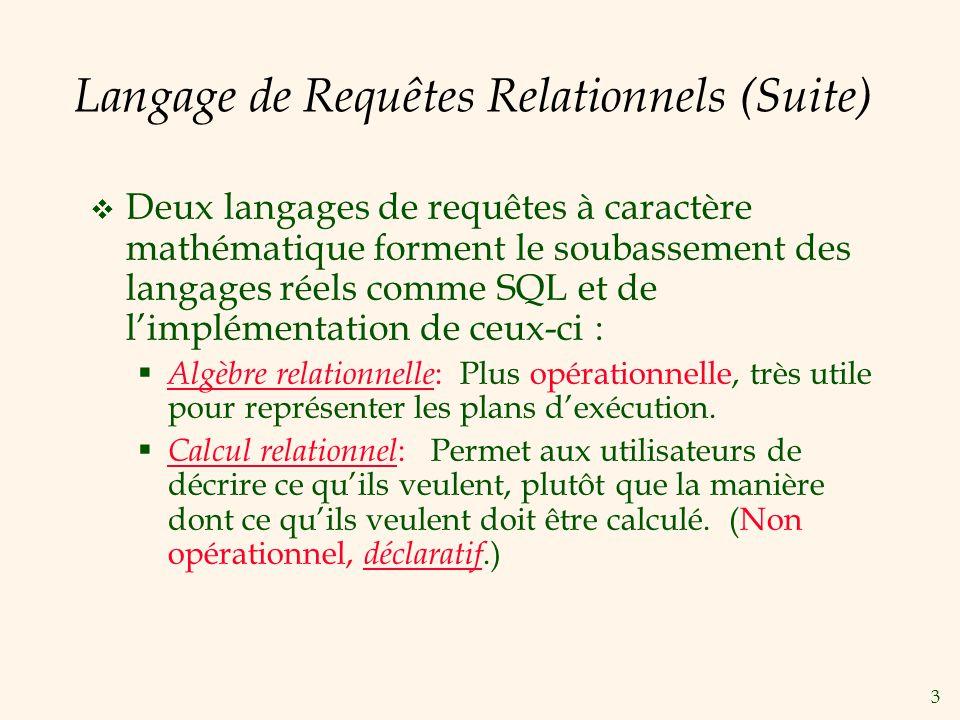 Langage de Requêtes Relationnels (Suite)