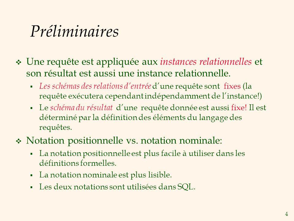Préliminaires Une requête est appliquée aux instances relationnelles et son résultat est aussi une instance relationnelle.