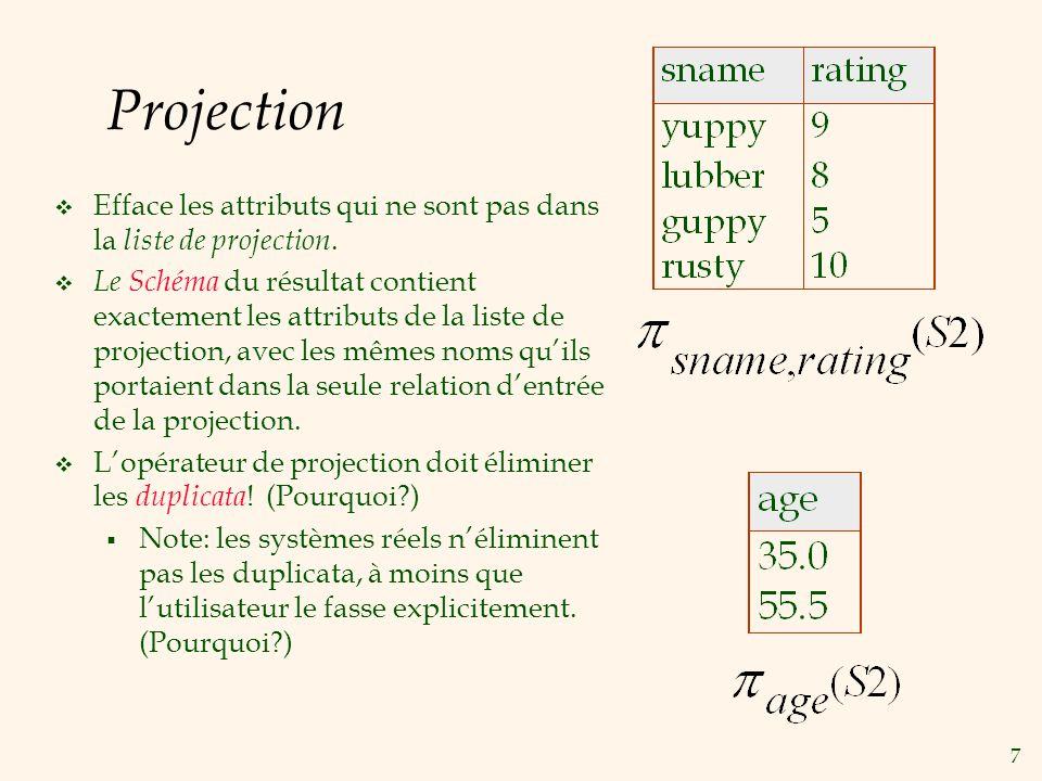 Projection Efface les attributs qui ne sont pas dans la liste de projection.