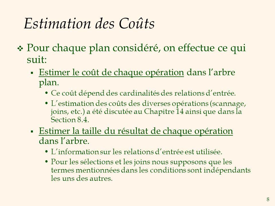 Estimation des Coûts Pour chaque plan considéré, on effectue ce qui suit: Estimer le coût de chaque opération dans l'arbre plan.