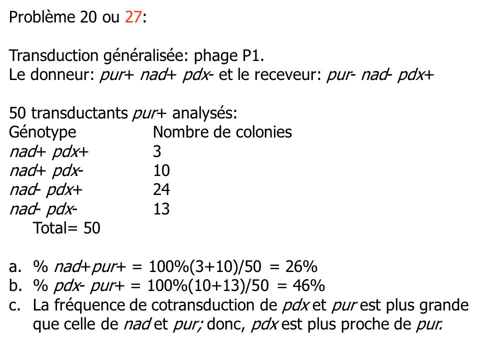 Problème 20 ou 27: Transduction généralisée: phage P1. Le donneur: pur+ nad+ pdx- et le receveur: pur- nad- pdx+