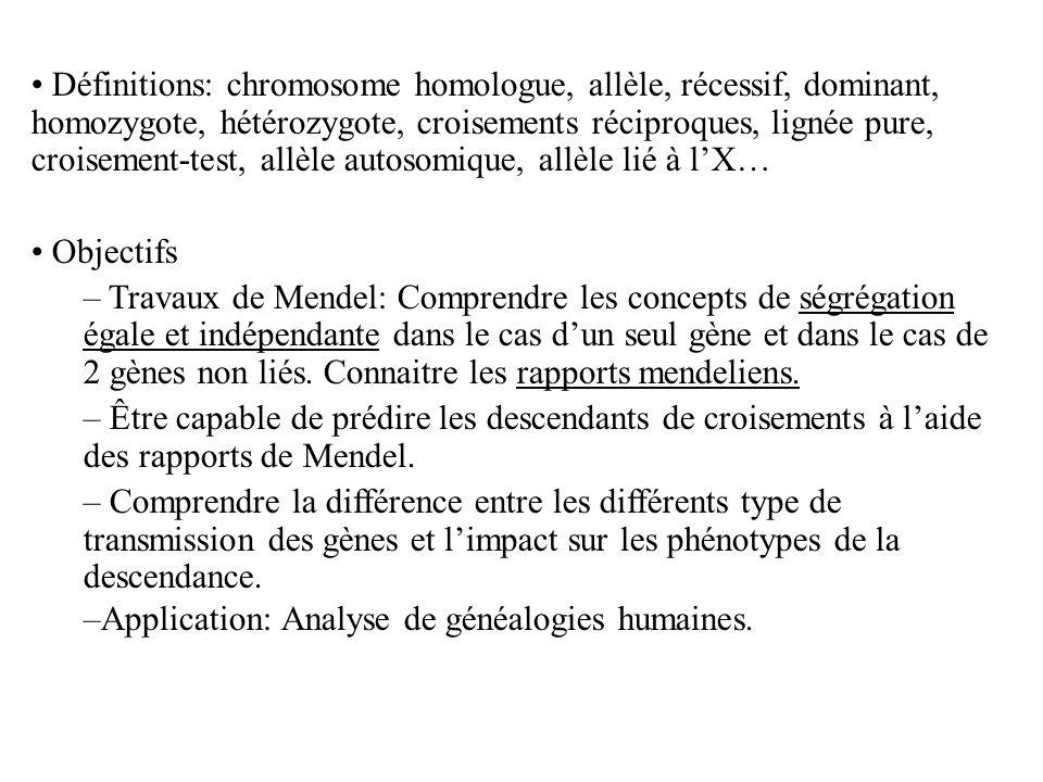 Définitions: chromosome homologue, allèle, récessif, dominant, homozygote, hétérozygote, croisements réciproques, lignée pure, croisement-test, allèle autosomique, allèle lié à l'X…