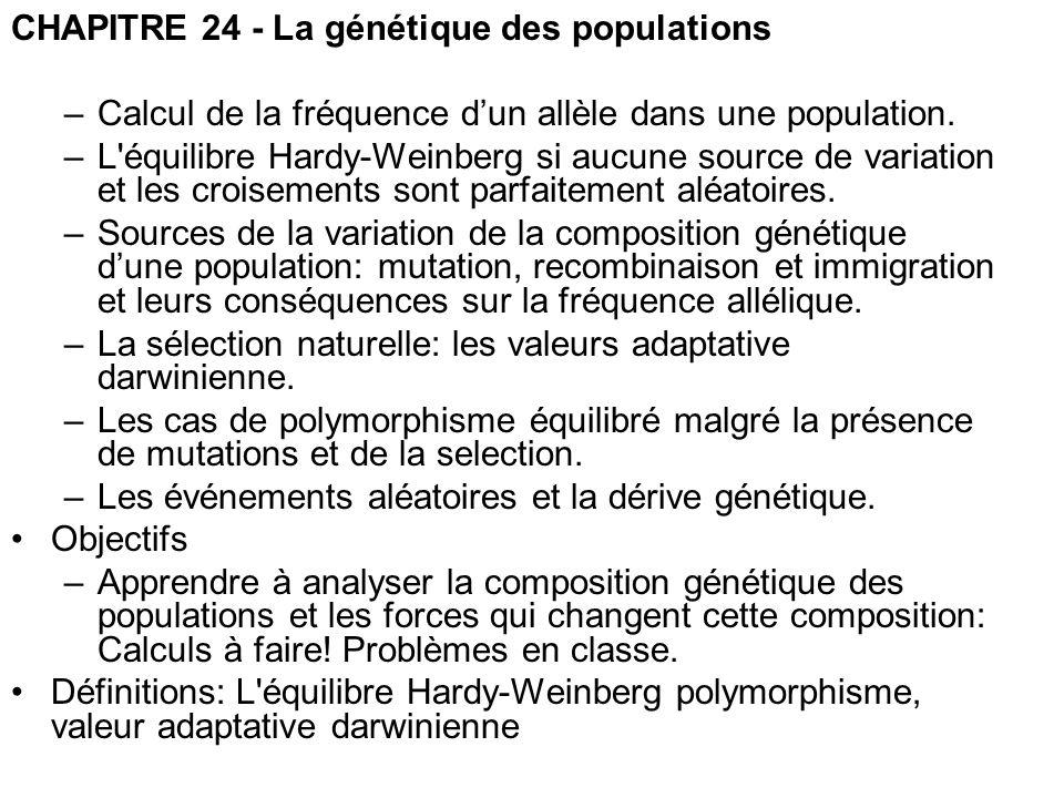 CHAPITRE 24 - La génétique des populations