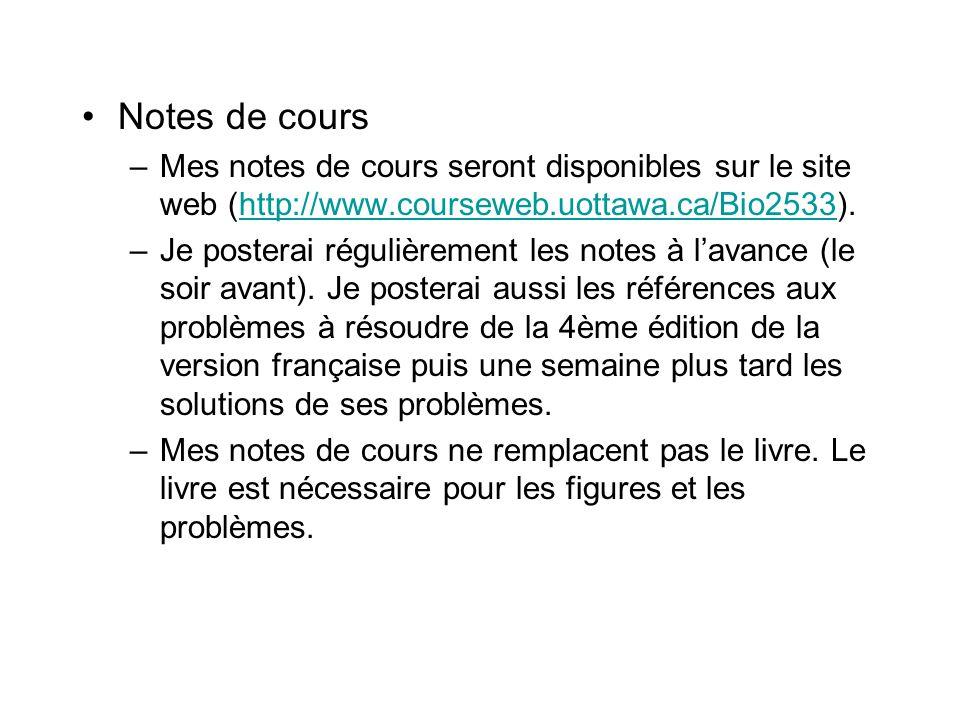 Notes de cours Mes notes de cours seront disponibles sur le site web (http://www.courseweb.uottawa.ca/Bio2533).