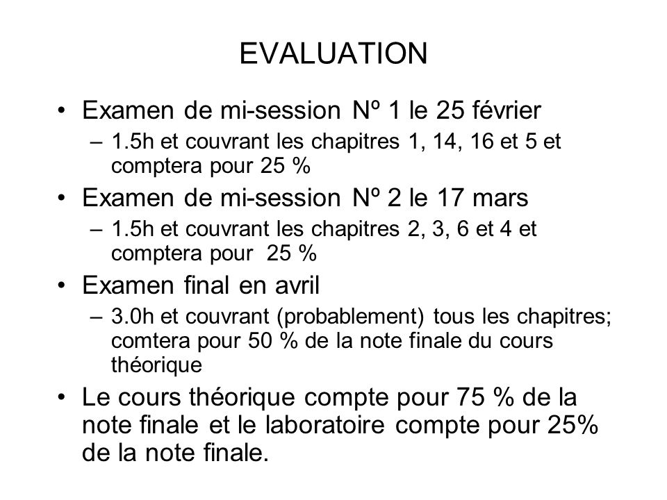 EVALUATION Examen de mi-session Nº 1 le 25 février