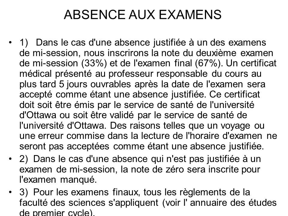 ABSENCE AUX EXAMENS