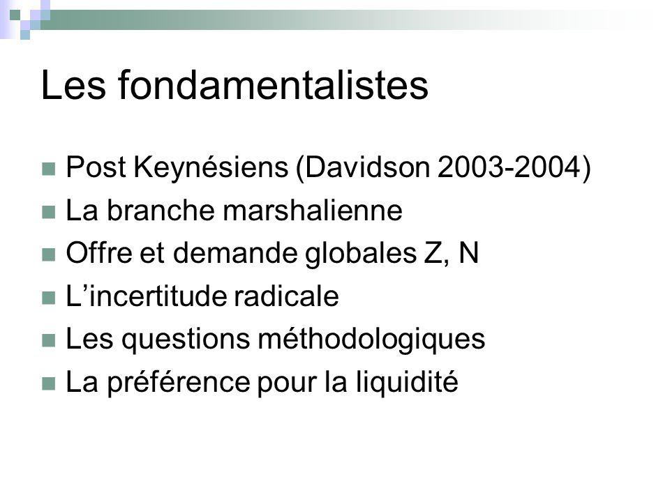 Les fondamentalistes Post Keynésiens (Davidson 2003-2004)