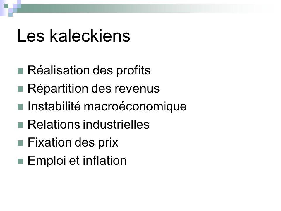 Les kaleckiens Réalisation des profits Répartition des revenus