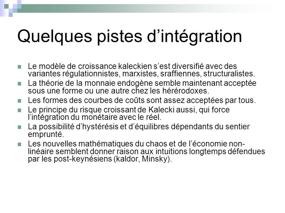 Quelques pistes d'intégration