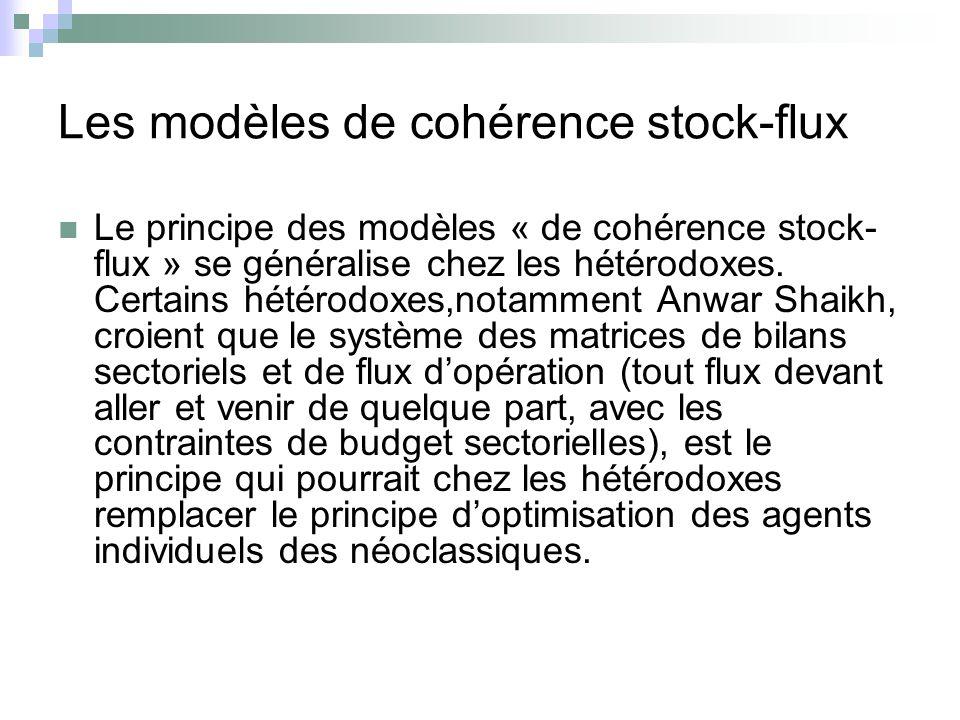 Les modèles de cohérence stock-flux