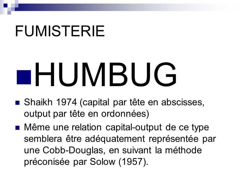 FUMISTERIE HUMBUG. Shaikh 1974 (capital par tête en abscisses, output par tête en ordonnées)