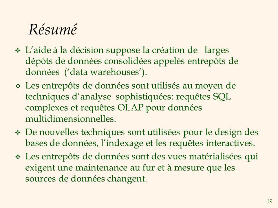 Résumé L'aide à la décision suppose la création de larges dépôts de données consolidées appelés entrepôts de données ('data warehouses').