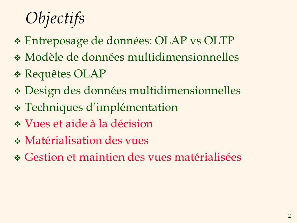 Objectifs Entreposage de données: OLAP vs OLTP